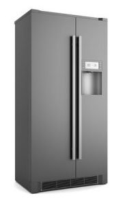 Single modern black refrigerator isolated.